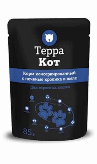 ТерраКот пауч для кошек с печенью кролика в желе